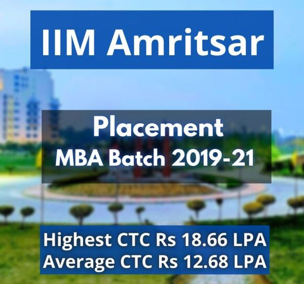IIM Amritsar Concludes Placements for MBA Batch of 2019-21